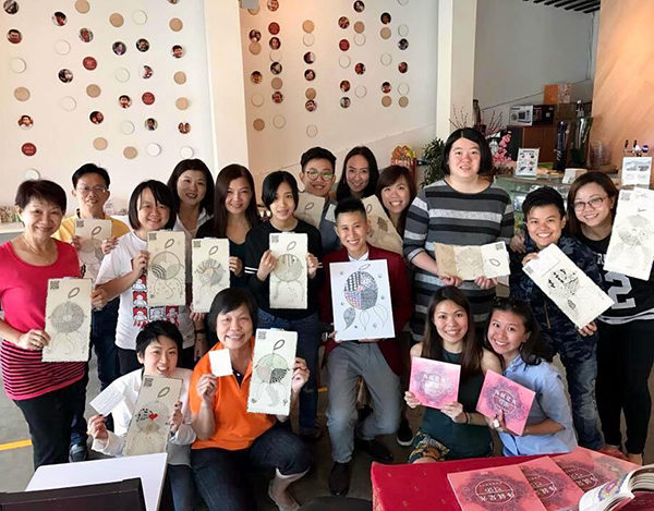 Meditative art hosted at a social enterprise owned cafe in Singapore